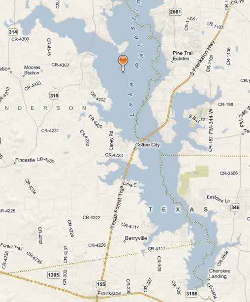 lake palestine texas map and location near tyler and frankston texas